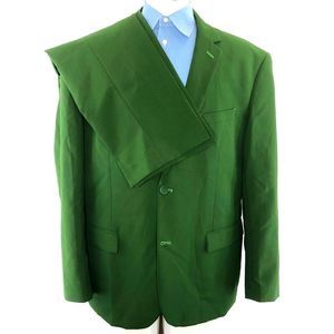 OppoSuits Green 2-piece Suit with Purple Lining 48